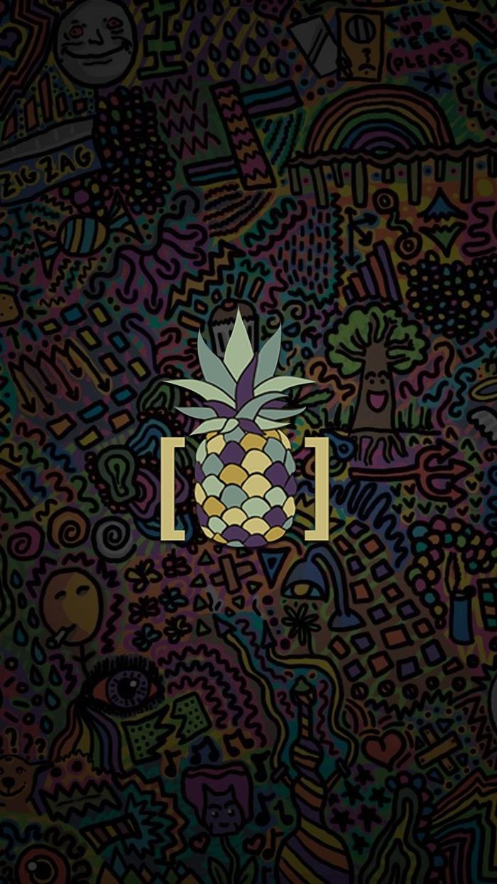 fond d'écran smartphone, dessin en couleurs et motifs variés avec ananas en bleu et pourpre au centre