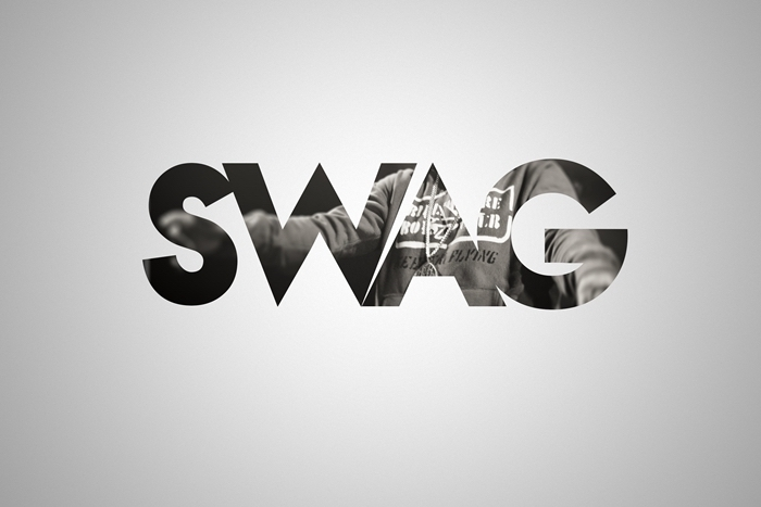 image fond d'écran, photo blanc et noir à fond gris avec lettres swag à design tenue de sport