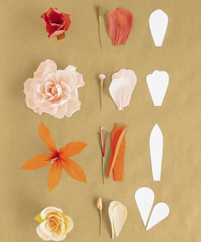 fabriquer des fleurs en papier, idée de diverses fleurs, roses et fleurs de lys à faire soi meme à partir de papier