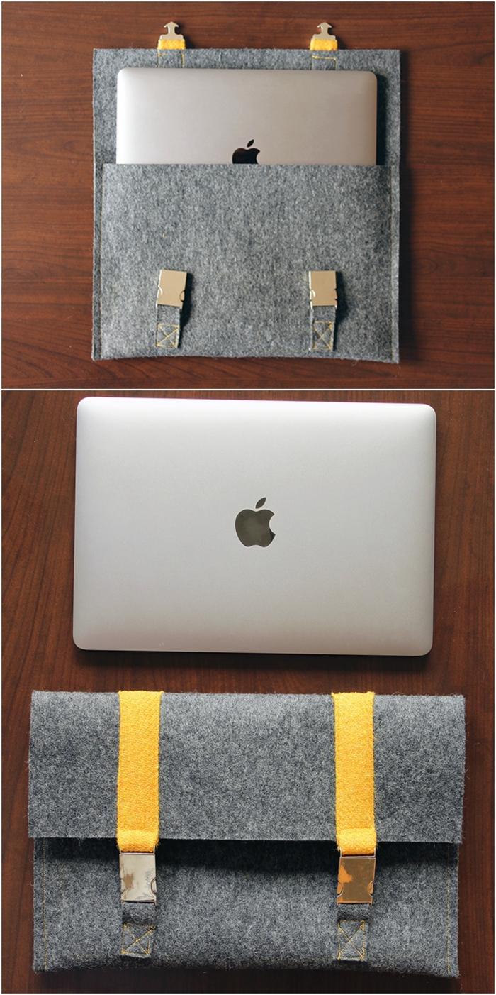 housse d'ordinateur portable en feutrine avec attaches jaunes, idée cadeau noel pour l'homme qui aime ses gadgets