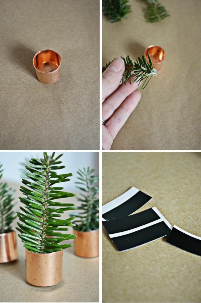 Décoration de table pour noel faire soi même simple à réaliser cuivre
