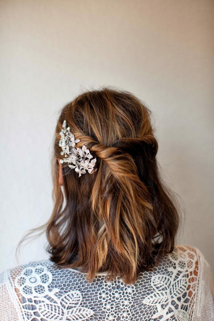 Noce coiffure mariée cheveux détachés coiffure mariée champetre mi long cheveux
