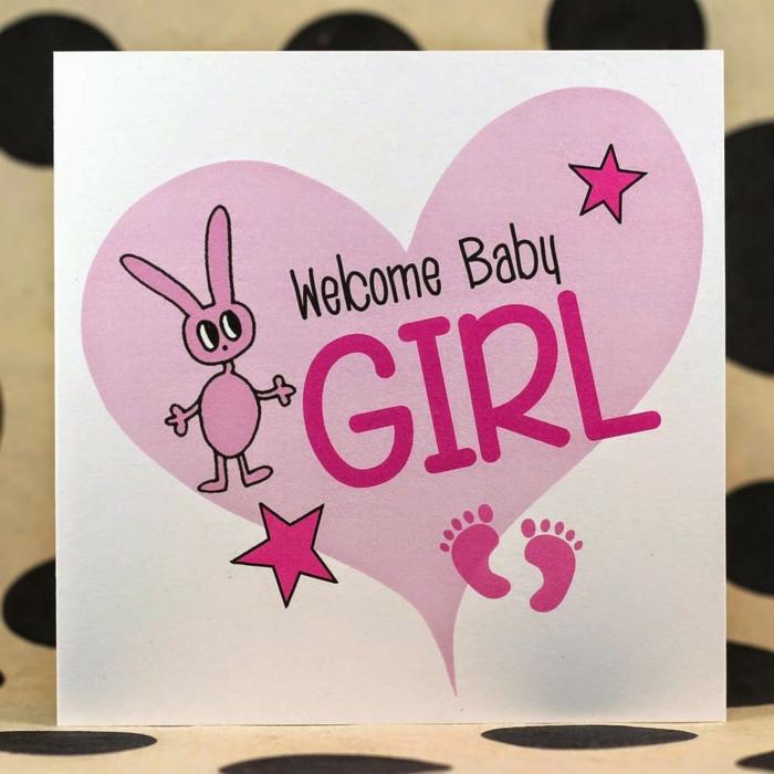 idée faire part naissance, coeur et lapin en rose pour annoncer l'arrivée d'une fille