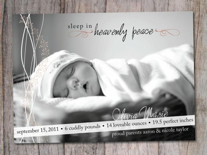 idée fairt part naissance, photographie monochrome, texte avec les mesures du bébé