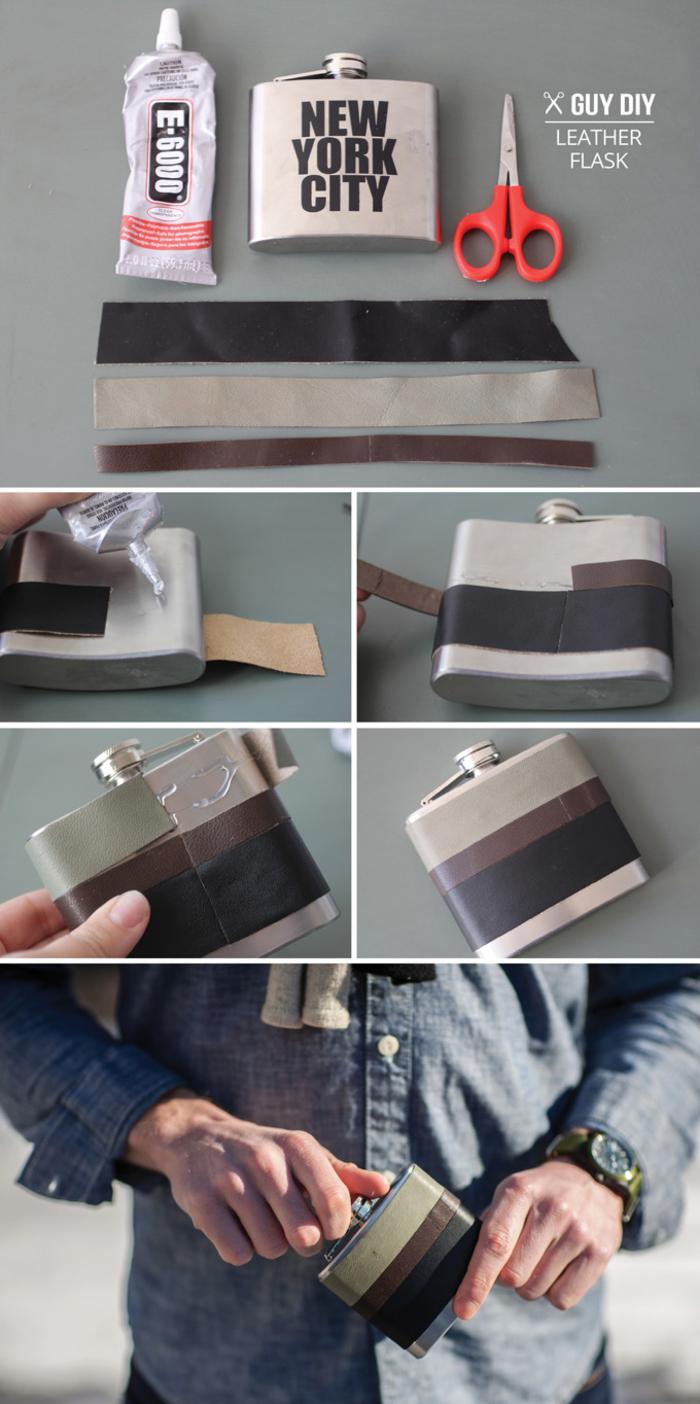 une flasque à alcool de style moderne customisé avec des bandes de simili cuir, idée cadeau noel pour homme