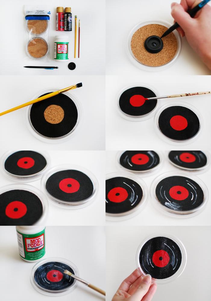 idée de cadeau de noel à faire soi même, des dessous-de-verre imitant des disques vinyles