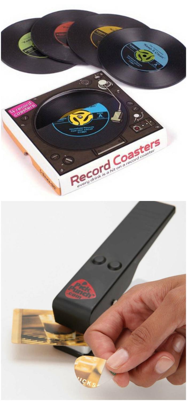 idées de cadeau de noel pour les passionnés de la musique, des dessous-de-verre vinyl originaux et une perforatrice de médiators