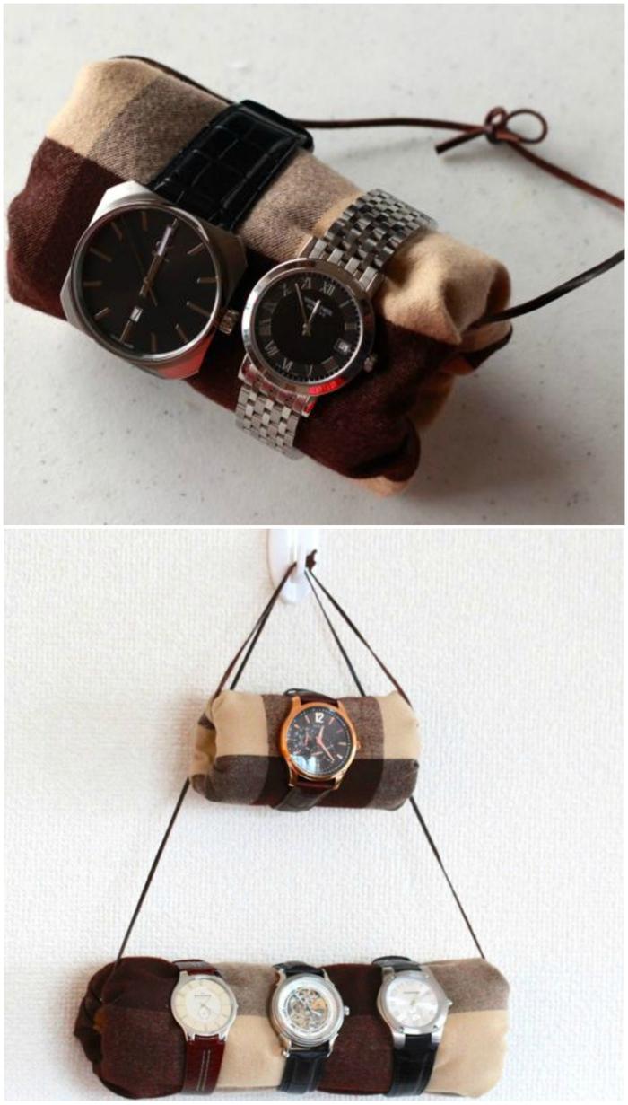 idée pour un cadeau original homme à faire soi même, support de montres à suspendre réalisé en tissu et carton