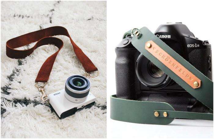 un cadeau pour homme passionné de la photographie, bandoulière pour appareil photo en cuir réalisée en peu de temps