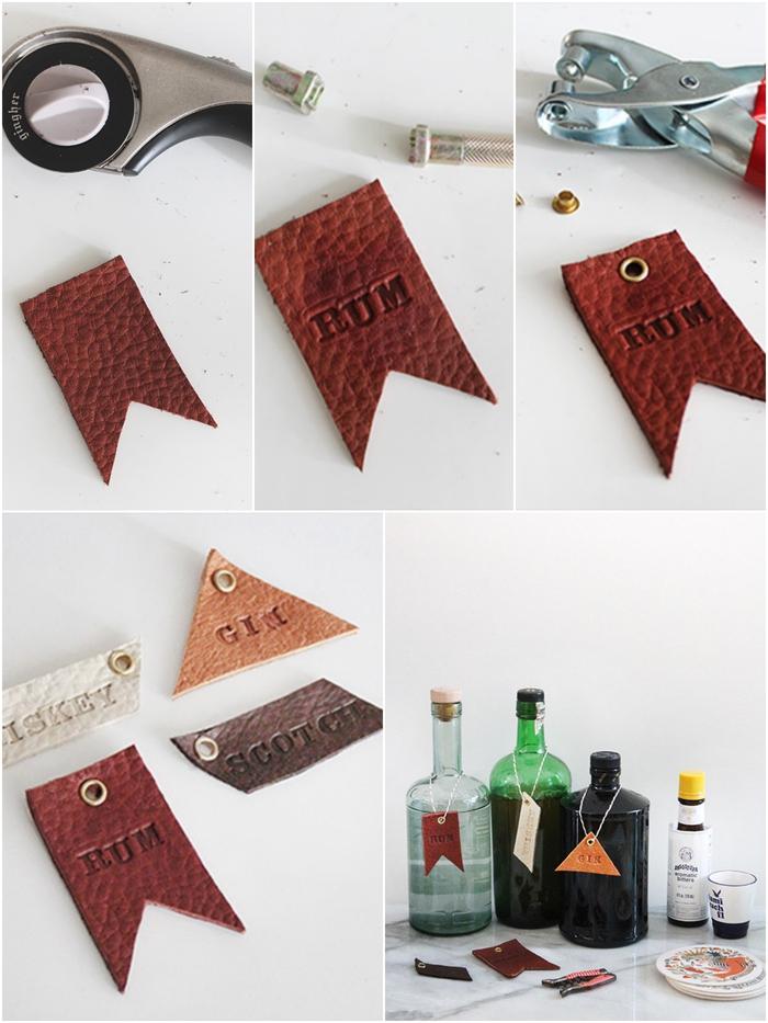 idée cadeau homme facile à réaliser soi mêle, des porte-étiquettes en cuir pour personnaliser ses bouteilles