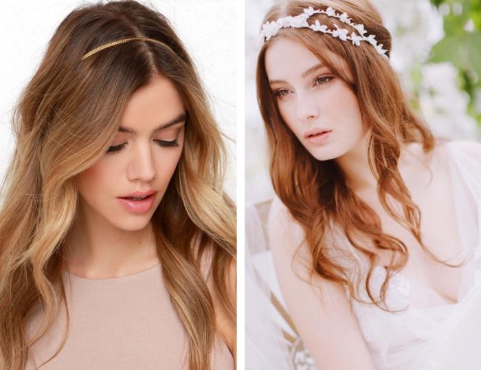 coiffure boheme, jeune femme au maquillage naturel en lèvres rose et fards à paupières nude
