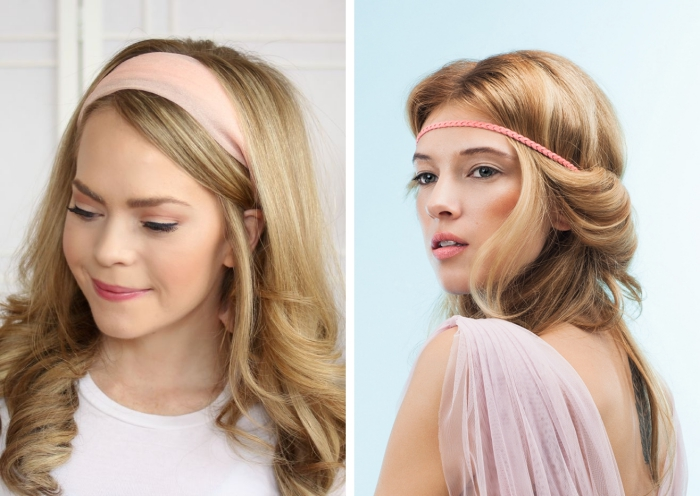 coiffure avec bandeau, look mignon avec cheveux bouclés et bandeau en rose pastel