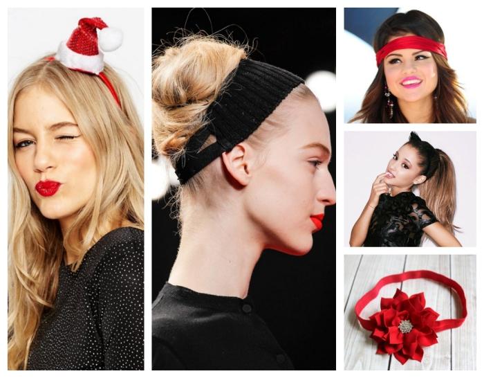 comment choisir sa coiffure de Noel, cheveux longs et blonds avec headband rouge à design chapeau père de noel