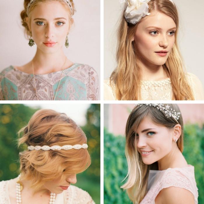 coiffure avec bandeau, balayage blond sur cheveux longs avec frange longue de côté et diadème florale