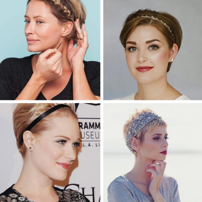 coiffure headband, modèle de coiffure avec bandeau pour cheveux courts, coloration châtain clair aux reflets cuivrés