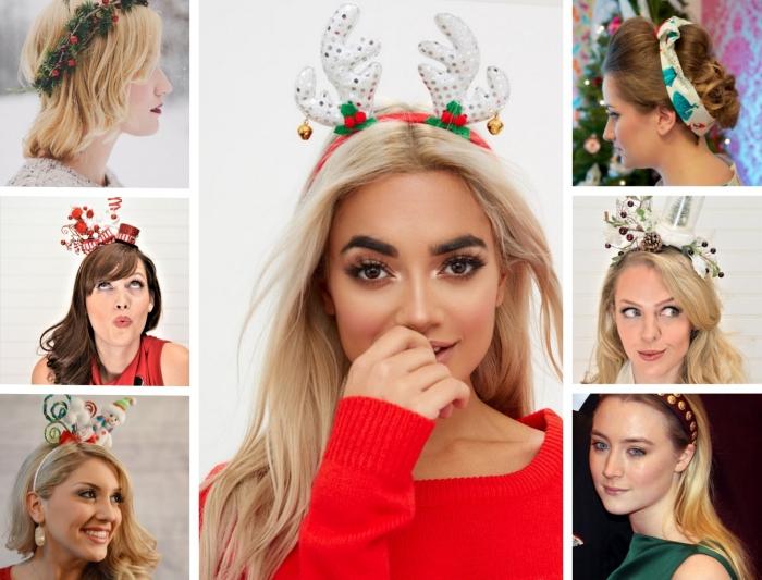 bandeau cheveux, cheveux longs de nuance blond et marron avec ruban à design motifs rouges et verts dans l'esprit de Noel