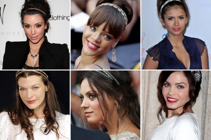 coiffure avec bandeau, modèle de coiffure célébrité pour cheveux longs lâches ou attachés en chignon