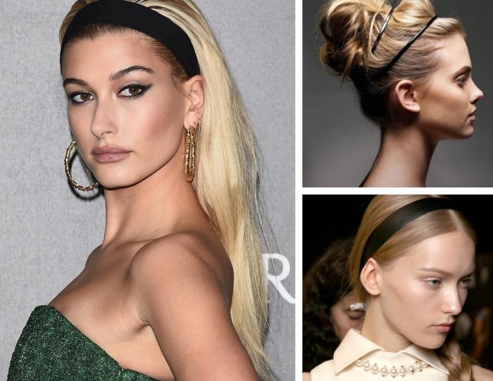 mettre un headband, modèle de coiffures faciles sur cheveux longs avec un bandeau noir large ou fin