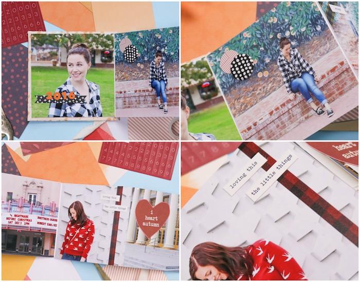 des pages album photo scrapbooking avec des photos et petits accessoires décoratifs, cadeau anniversaire femme fait maison
