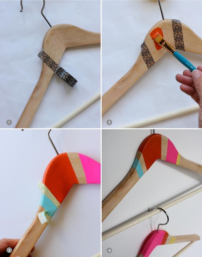 tuto technique pour customiser un cintre en bois, décoration de peinture bandes colorées réalisés avec du washi tape, cadeau anniversaire femme fait maison