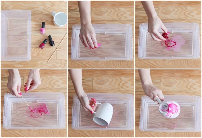 cadeau de noel pas cher pour maman ou pour une meillure amie, mug personnalisé, tasse blanche effet marbre réalisé avec du vernis à ongles