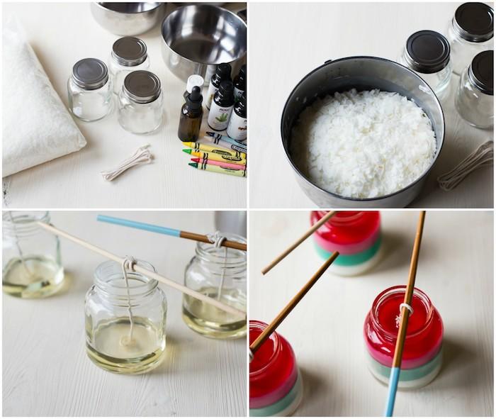 comment faire des bougies, idée de bricolage facile, cadeau fait main, bougies de noel parfumées à couches colorés