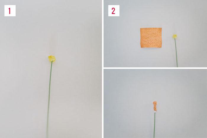 exemple comment faire une fleur en papier tige en fil de fer vert et petite boule jaune pour le coeur de la fleur