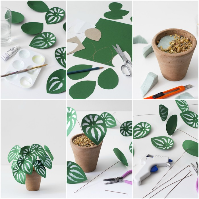 tuto fleur papier, exemple comment faire une fleur à feuilles vertes customisées de peinture blanche, plantées dans un pot de fleur