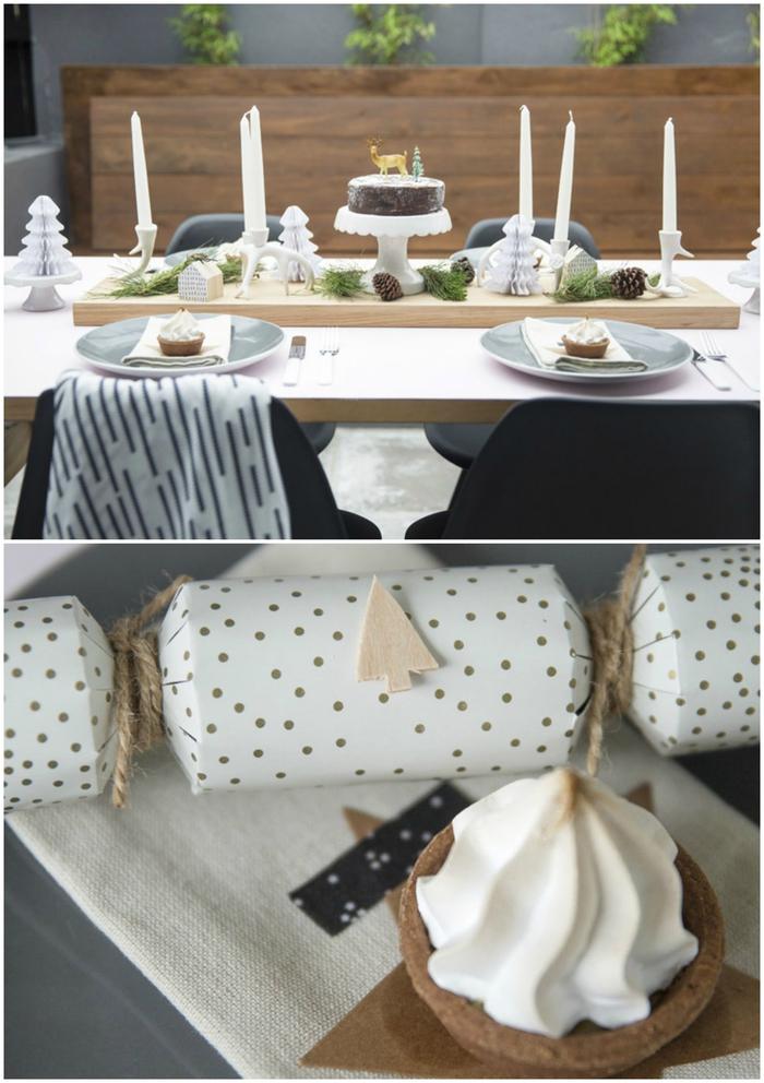 comment dresser une table de noël inspirée de la nature, idée pour une décoration de table nordique avec des touches de bois et de verdure