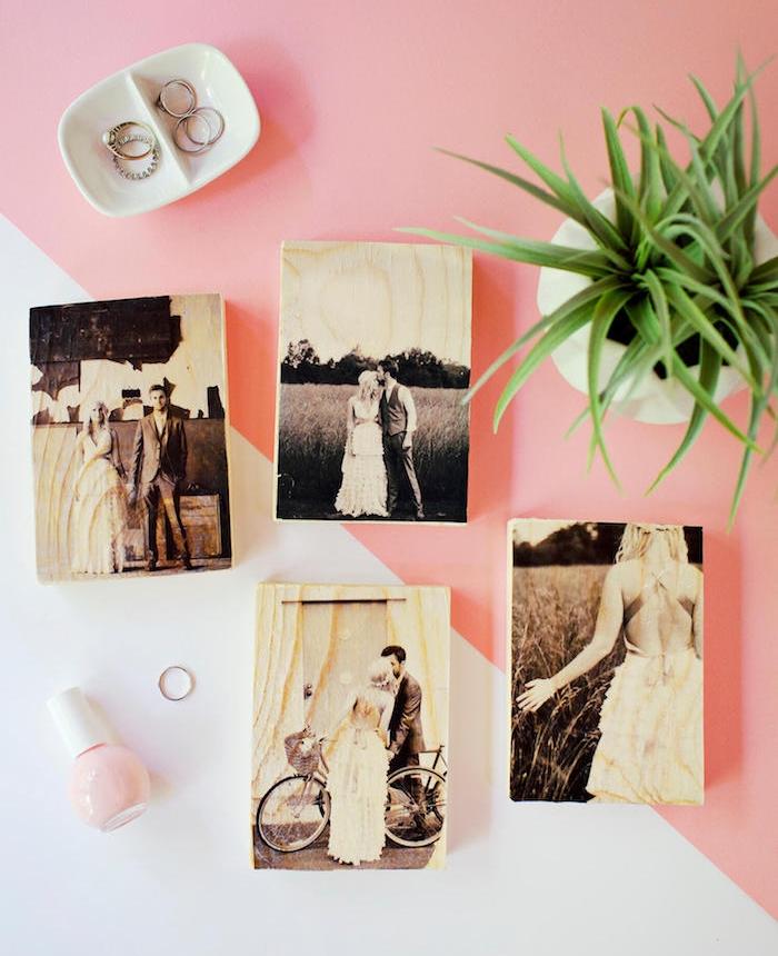 blocks en bois customisés de photos noir et blanc de couple mariée, diy cadeau sentimentale, activité manuelle adulte