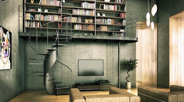 etagere industrielle, meuble bibliotheque noir, fauteuils en cuir marron, parquet clair, mezzanine avec escalier helicoidal, parquet clair, meuble tv bois
