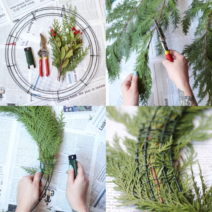 une jolie couronne de noël végétale composée de branches de cèdre et de baies rouges de pyracantha, deco noel a faire soi meme