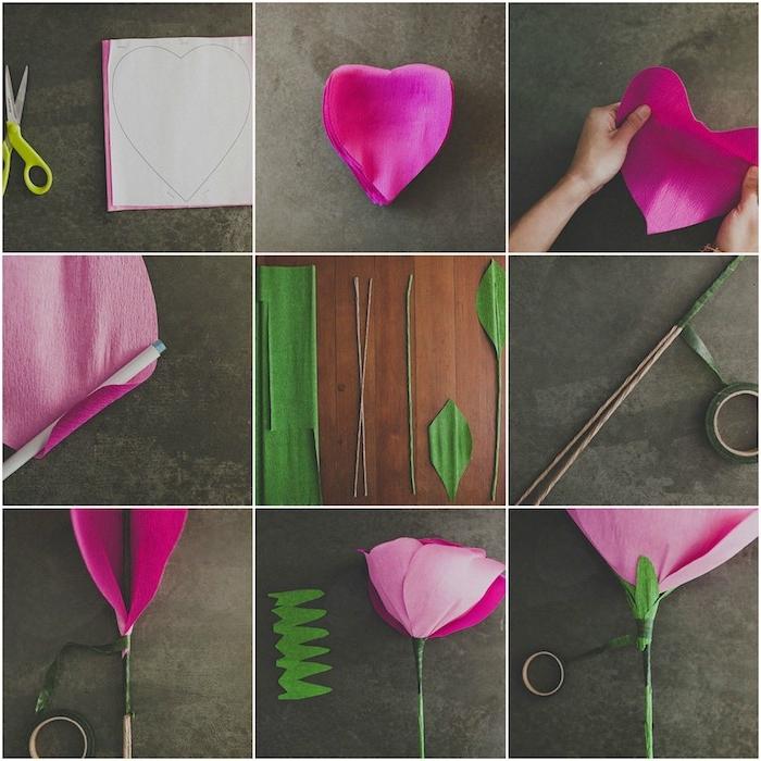 exemple comment faire une fleur en papier crepon simple avec des pétales rose ourlées, tiges en fil de fer et feuillage de papier vert
