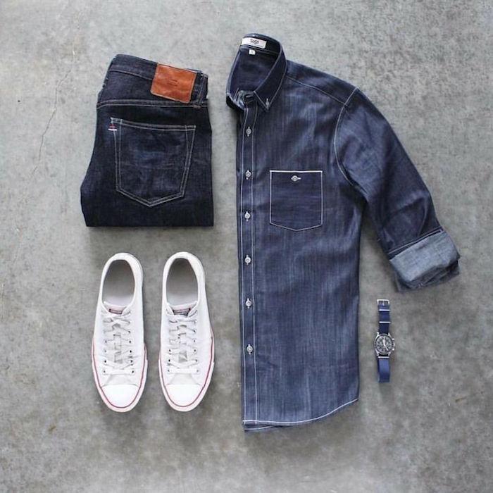 tenue jean chemise pantalon brut chaussures blanches converse tenue homme casual