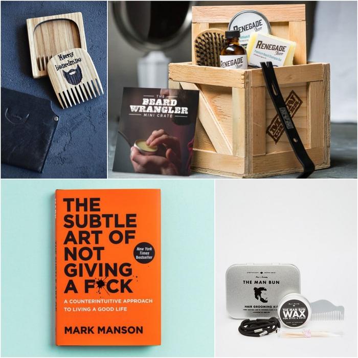 idée cadeau personnalisé pour un homme hipster, coffret de produits pour prendre soin de sa barbe et sa moustache