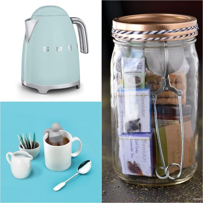 idée cadeau noel pour les fans du thé, un kit de thés dans un bocal personnalisé accompagné d un infuseur à thé original et de bouilloire électrique rétro