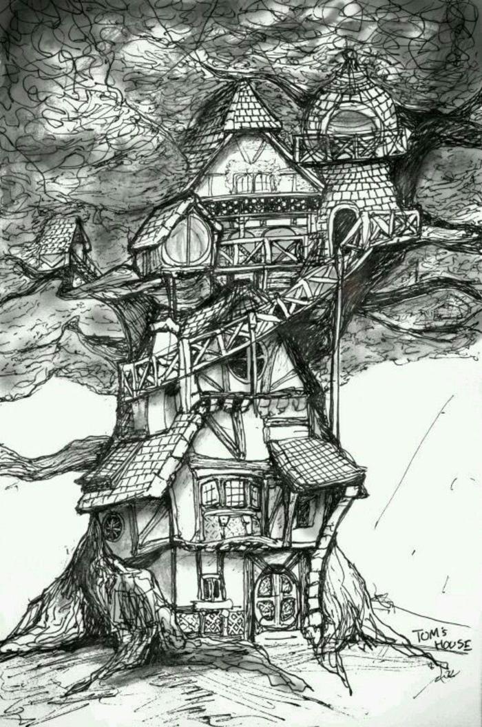 Les bases du dessin au crayon dessin arbre avec racines maison arboricole cool