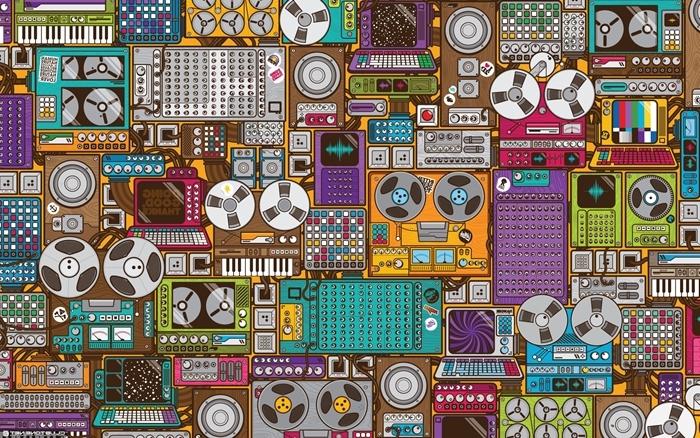 fond d'écran swagg pour ordi, dessin à design musical avec radiocassettes et tourne-disques multicolore