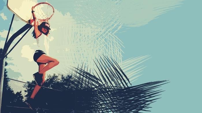 fond d'écran pour fille ado swag, image à design sportif avec panier de basketball et fille swag en shorts noirs et casquette