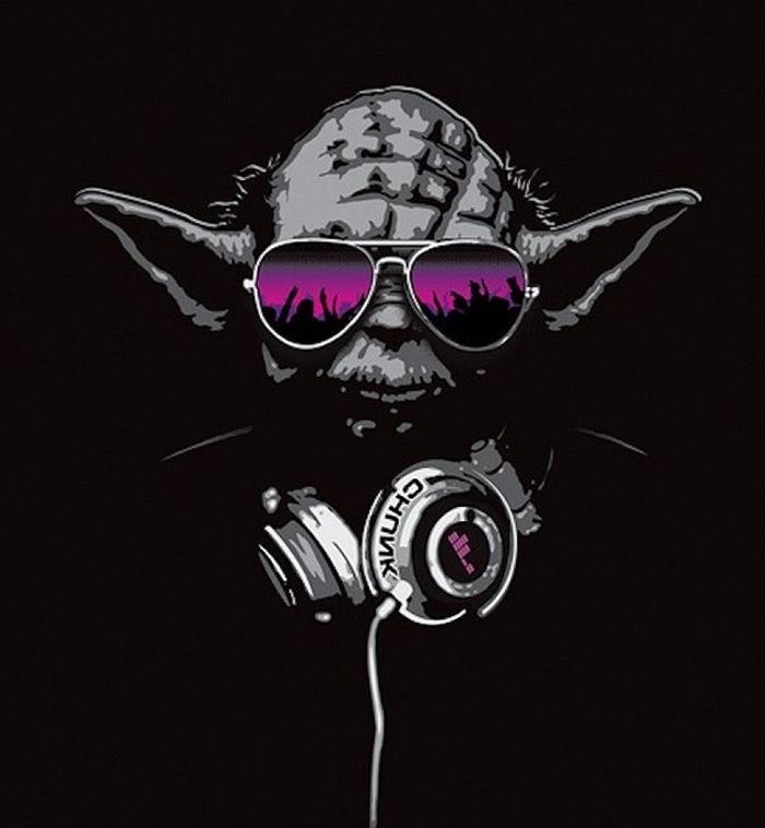 dessin digital en noir avec silhouette de Yoda Star Wars aux écouteur et lunettes de soleil violets