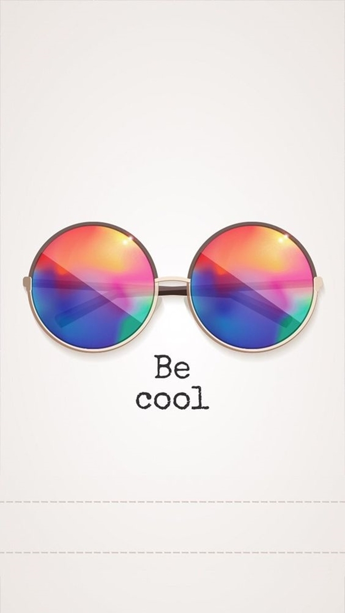 image swag pour fond d'écran d'iphone, photo blanche avec dessin de lunettes de soleil en couleurs