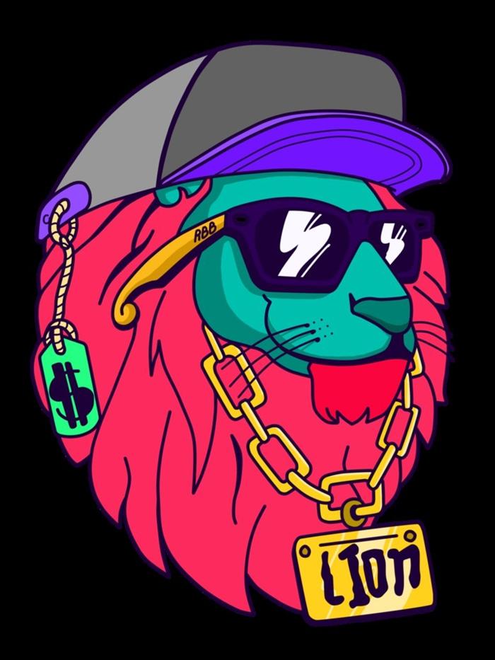 fond d'écran, dessin en couleur à design lion swag avec barbe fuschia et accessoires casquette grise et bijoux en or