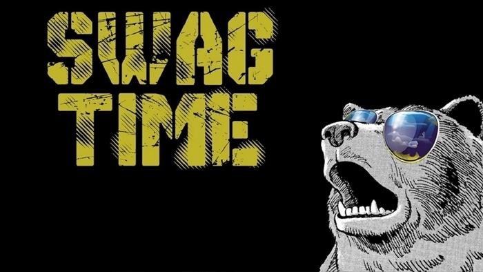 fond d'écran hd noir et blanc, image noire avec lettres jaunes swag et dessin ours avec lunettes de soleil en couleurs