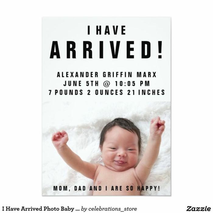 photo mignonne je suis là, un bébé qui sourit, faire-part avec une charmante photographie