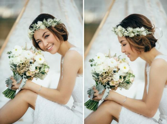 Romantique coiffure de mariée cheveux détachés coiffure de la mariée mi long cheveux