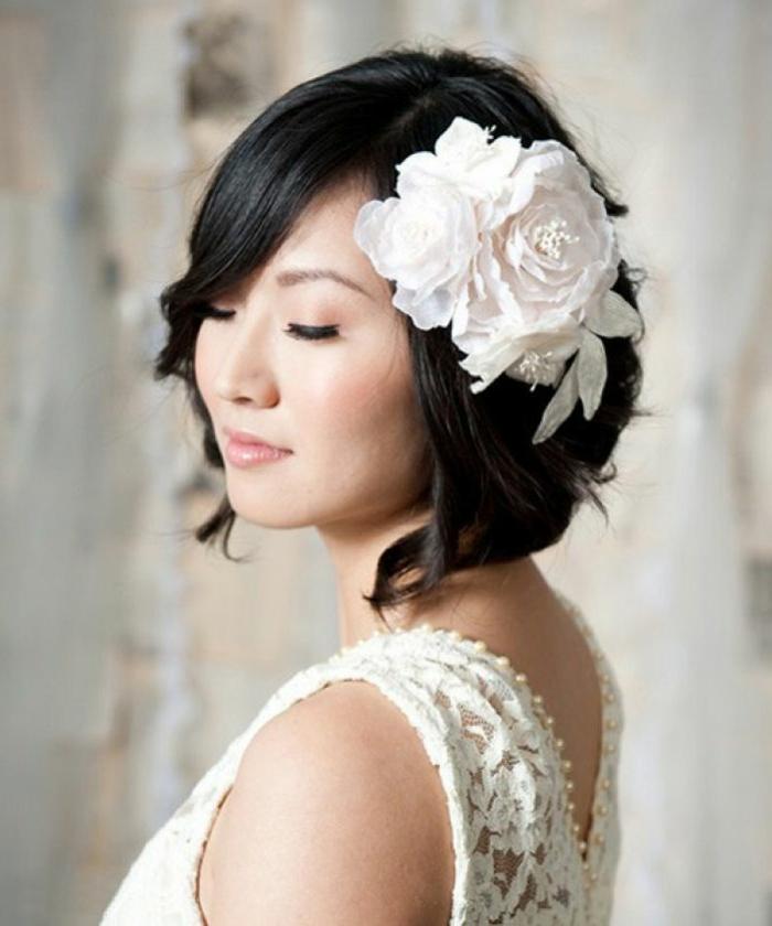 Vintage coiffure mariée avec headband coiffure mariée naturelle fleur