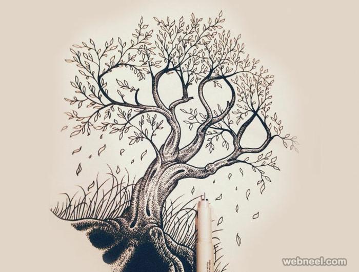 Apprendre le dessin au crayon dessiner un arbre facile arbre de vie feuilles dessin