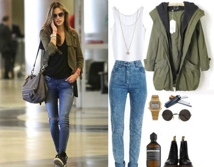 kaki couleur, porter la veste kaki avec paire de jeans et t-shirt noir, bottines en cuir noir à combiner avec paire de lunettes de soleil rondes