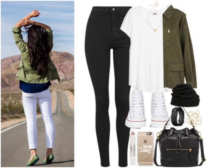 veste courte femme, comment bien s'habiller avec pantalon noir slim et accessoires en cuir noir