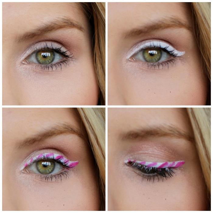 tuto maquillage yeux verts, dessiner des lignes rose et blancs sur les paupières pour faire un maquillage de noel